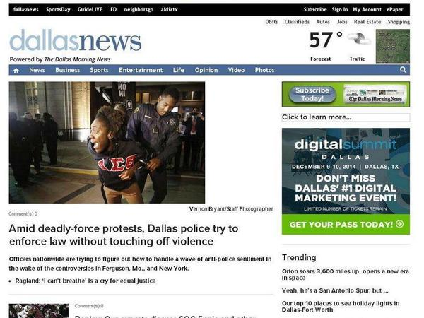 The home page of the Dallas Morning News on Dec. 6, 2014 showed a protester wearing a Delta Sigma Theta shirt. Soon after, some black sororities banned members from wearing their logos at protests.