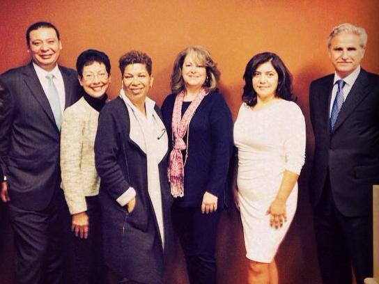Michel Martin with five Latino influencers from the Charlotte business community. Alina Bartlett, Jorge De La Jara, Carlos Salum, Deborah Aguiar-Vélez, and Milagritos Aguilar.