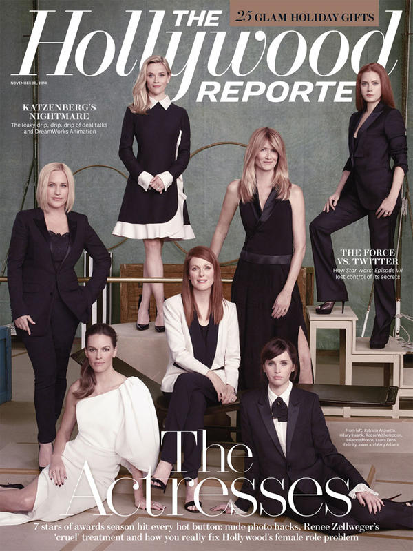 Patricia Arquette (clockwise from left), Reese Witherspoon, Laura Dern, Amy Adams, Felicity Jones, Julianne Moore and Hilary Swank on the Nov. 28 cover of <em>The Hollywood Reporter</em>.