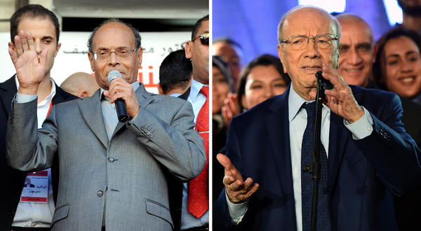 The two candidates in Sunday's runoff presidential election are incumbent Moncef Marzouki (left), who has been serving on an interim basis, and Beji Caid Essebsi, 88, who held posts in the old regime that was ousted in 2011.