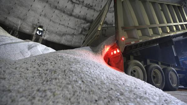 Salt is unloaded at a maintenance yard in Scio Township, Mich., in September.