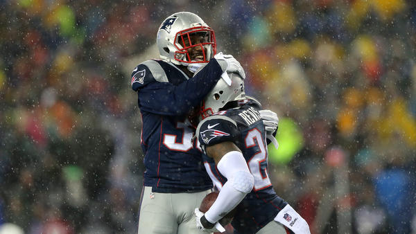 Duron Harmon and Darrelle Revis of the New England Patriots celebrate Revis' interception in the third quarter of the 2015 AFC Championship Game. The Patriots beat the Indianapolis Colts and will be playing in the Super Bowl Feb. 1.