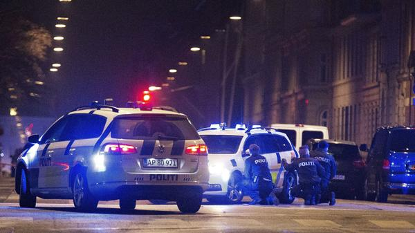Police officers take cover behind their patrol cars on the streets of central Copenhagen on Sunday, after a shooting near Copenhagen's main synagogue left one person dead. It was not confirmed if the incident was related to Saturday's deadly shooting at a cultural centre in Copenhagen where a debate on Islam and free speech was being held.