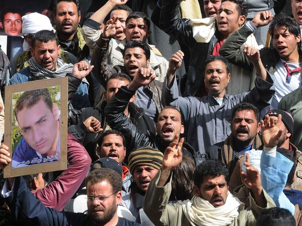 Egyptians protest on Friday what they characterize as Government inaction in reaction to the kidnapping of Copts in Libya, Cairo, on Friday.