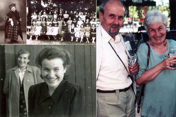<strong>Ruth Hálová, a survivor of the Holocaust (clockwise):</strong> Ruth as a child dressed up for a play; Ruth's 1st grade class taken in 1932; Ruth and husband Milan Hala in India in the 1990's; Ruth and her mother in (the then) Czechoslovakia after the war.
