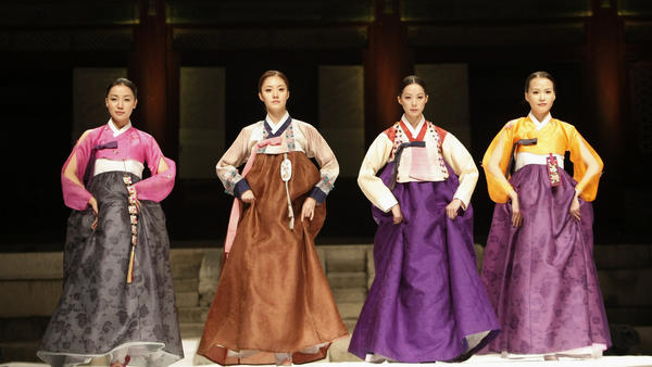 Models present the traditional costume known as hanbok during the 2010 Korea Hanbok Festival in Seoul.