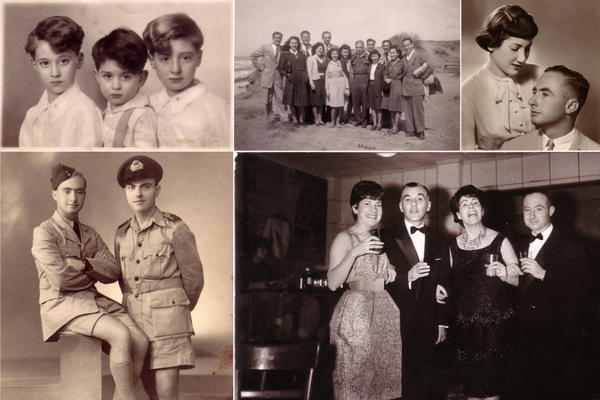 <strong>Mico Alvo, a survivor of the Holocaust (clockwise):</strong> Mico with his brothers Danny and Tori in the 1920s; Mico and Mary with friends in Greece, 1961;Mico and his wife, Mari, in their engagement photo from Thessaloniki, Greece, 1951; Mico Alvo and Antonis Papahrisanthou in Cairo, 1943.