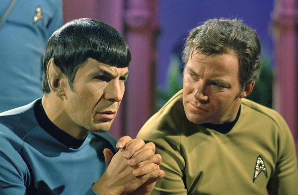 Leonard Nimoy is best known for his role as Mr. Spock, the half-Vulcan, half-human first officer from <i>Star Trek: The Original Series,</i> earning three Emmy nominations for his performance. With him is William Shatner as Capt. James T. Kirk.