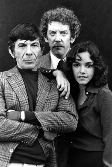 Leonard Nimoy poses with Donald Sutherland and Brooke Adams during filming of the 1978 remake of the film, <i>Invasion of the Bodysnatchers.</i>