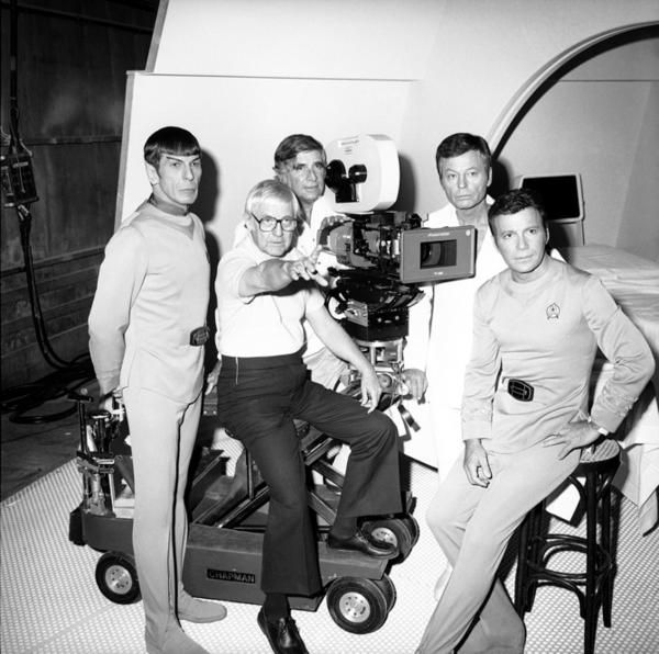 Leonard Nimoy (from left), Robert Wise, Gene Roddenberry, DeForest Kelley and William Shatner confer on the set of the movie, <i>Star Trek: The Motion Picture,</i> on Nov. 8, 1978. The popularity of the original <i>Star Trek</i> TV show resulted in 11 feature films. Nimoy reprised his role as Spock in six of the films as well as in <i>Star Trek: The Animated Series,</i> and two episodes of <i>Star Trek: The Next Generation.</i>