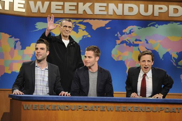 "Leonard Nimoy makes a May 9 guest appearance on the <i>Saturday Night Live</i> sketch ""Weekend Edition"" to promote the 2009 <i>Star Trek</i> film.  Along with Nimoy, actors Zachary Quinto (left) and Chris Pine, who play Spock and James. T. Kirk in the film, joined Nimoy and host Seth Meyers (right)."