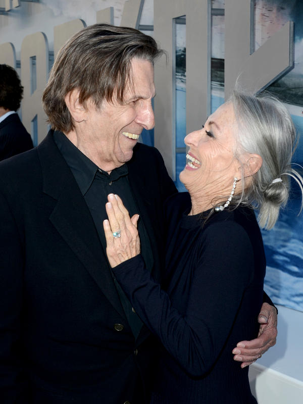 Leonard Nimoy and wife Susan Bay Nimoy arrive at the premiere of Paramount Pictures' <em>Star Trek Into Darkness</em> in Hollywood, Calif., in 2013.