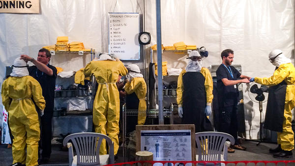It's not the real deal. This Ebola Treatment Unit was set up for a TED talk in Vancouver so people could get a sense of what the units are like, and what it's like to put on the protective suit.