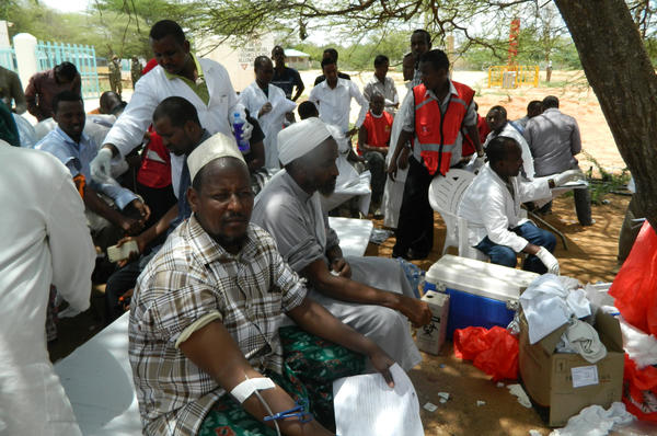 Local residents donate blood at Garissa hospital Thursday, after Al-Shabab gunmen attacked Garissa University College in northeast Kenya.