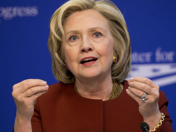 Former Secretary of State Hillary Rodham Clinton speaks at an event hosted by the Center for American Progress and the America Federation of State, County and Municipal Employees on March 23 in Washington. Clinton announced her presidential run today.