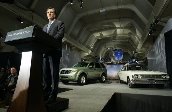 In 2007, Mitt Romney announced his candidacy for president at The Henry Ford museum in front of cars and an airplane.