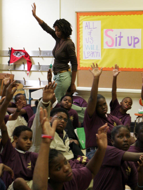 Teacher Towana Pierre-Floyd in her classroom at New Orleans West in 2005. It's a structured charter school set up for students and teachers displaced by the storm.