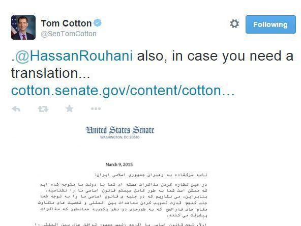 Sen. Tom Cotton's tweet to Iran's President Rouhani.