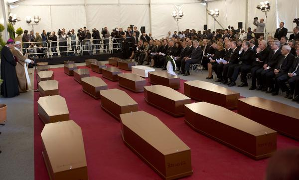 Near Valletta, Malta, on Thursday there was a funeral service for 24 of the hundreds of migrants who died earlier in the week when the ship they were on capsized and sank.
