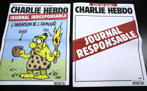 """This pair of <em>Charlie Hebdo</em> covers from 2012 pokes fun at the magazine's """"irresponsible"""" approach to humor."""