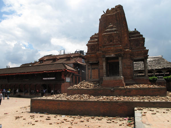 A post-earthquake scene in Bhaktapur, the ancient town outside Kathmandu that's a tourist attraction.