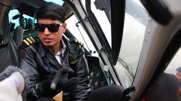 Helicopter pilot Subek Shrestha has flown more than 300 villagers to get medical care.