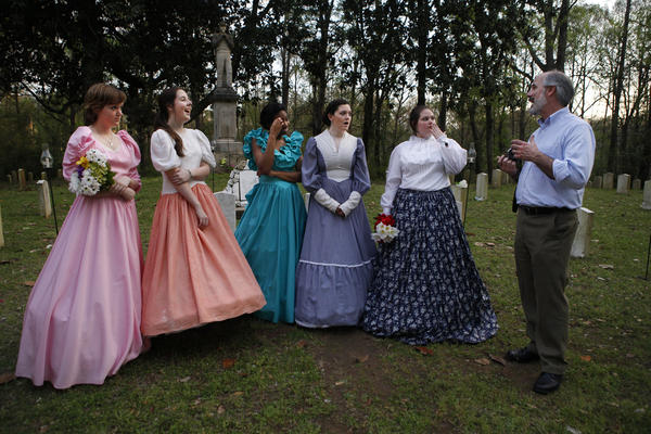 Chuck Yarborough, a history teacher in Columbus, Miss., coaches his students during a dress rehearsal for <em>Tales From the Crypt</em>.
