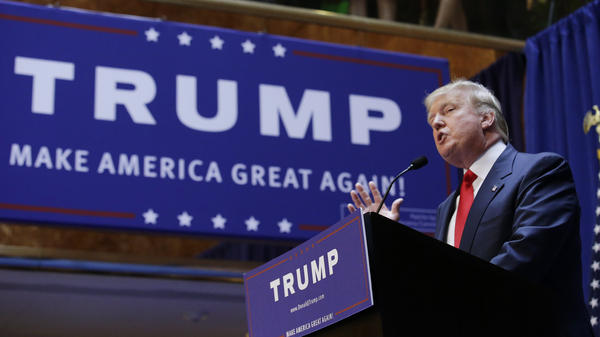 Real estate mogul and TV personality Donald Trump formally announces his bid for the 2016 Republican presidential nomination during an event at Trump Tower in New York.