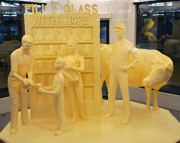 """<strong>Art of the people: </strong><em>Fill a glass with hope</em>, a butter sculpture crafted by Jim Victor and Marie Pelton. """"People don't understand how [the sculpting] is done --€"""" it's like magic and just appears,"""" Victor says. """"But people understand butter."""""""
