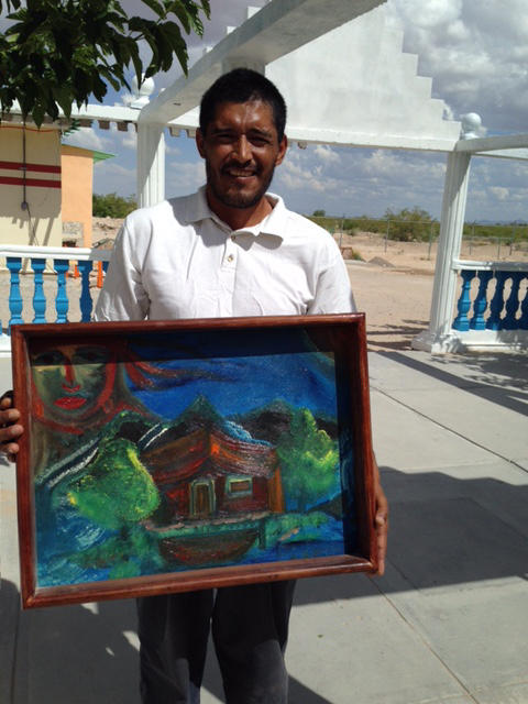 A resident and his artwork.