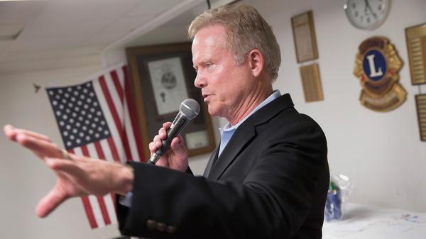 Former Virginia Sen. Jim Webb, who is running for president, speaks at the Urbandale Democrats' Flag Day celebration on June 14 in Urbandale, Iowa.