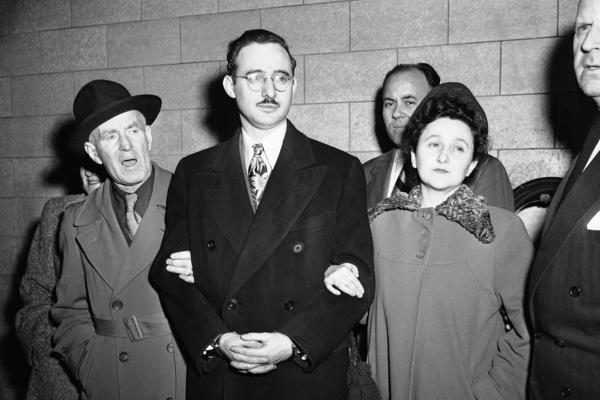 Harry McCabe (from left), deputy U.S. marshal; Julius Rosenberg and his wife, Ethel; Anthony H. Pavone, deputy U.S. marshal, in New York on March 8, 1951.