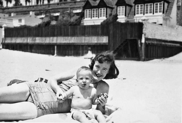 Finnegan on the beach in Santa Monica, Calif., with his mother in 1953.
