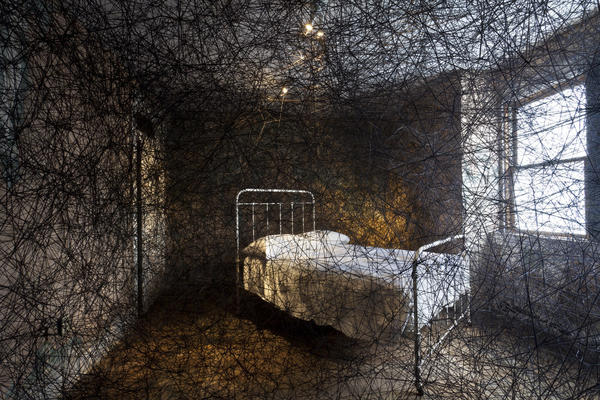 "Chiharu Shiota takes over an entire townhouse for her 2013 work <a href=""http://www.mattress.org/archive/index.php/Detail/Entities/1452"">Trace of Memory</a>. It's one of the many unusual installations at The Mattress Factory in Pittsburgh."