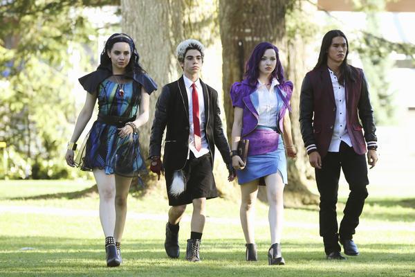 Sofia Carson (from left), Cameron Boyce, Dove Cameron and Booboo Stewart star as the next generation of Disney villains in <em>Descendants.</em>