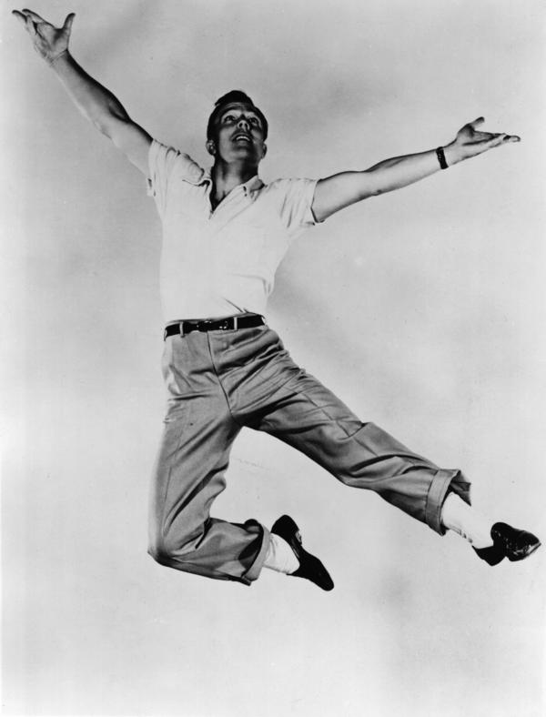 """Dancer, actor, singer and director Gene Kelly was — many decades after this photo was taken — a mentor to Ortega. """"He would invite me to his home,"""" Ortega recalls.""""We would look at his films together and he would talk to me about how he designed choreography for camera."""""""