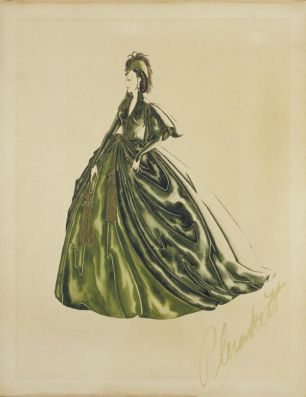 Costume designer Walter Plunkett made an intricate watercolor design for Scarlett O'Hara's famous curtain dress in <em>Gone with the Wind.</em>