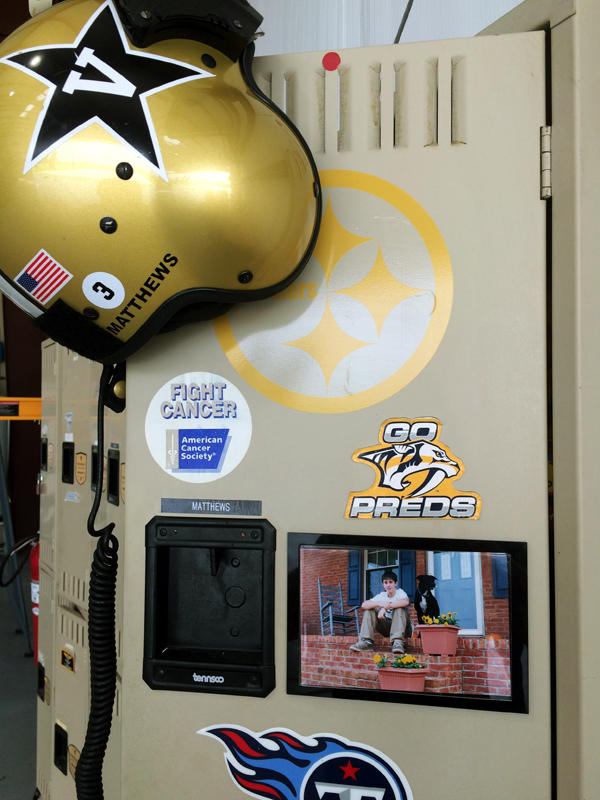 Beside Wilson's Vanderbilt helmet, affixed to the inside of his locker, is the picture of Stephen, where it's been for years now.
