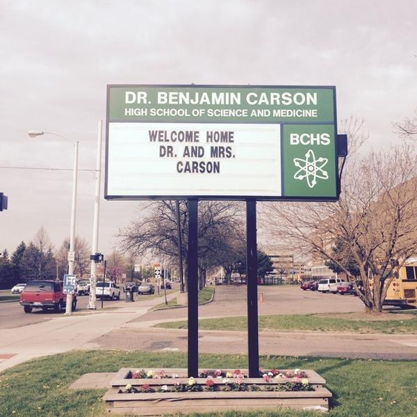 Detroit's Benjamin Carson High School of Science and Medicine is named after presidential candidate Ben Carson.