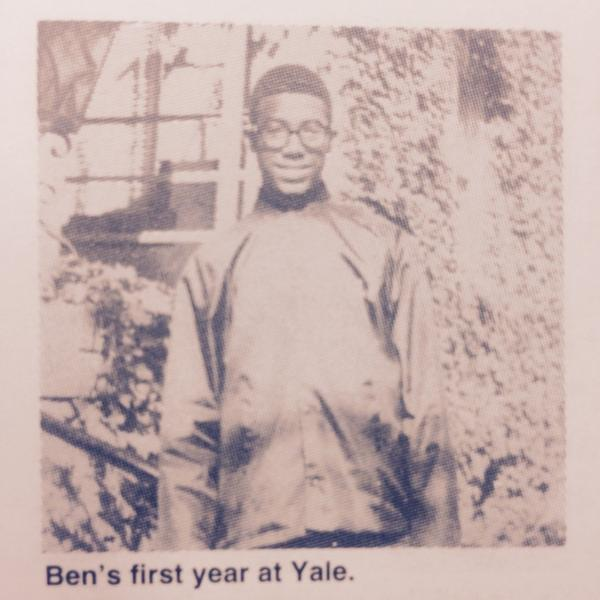 Ben Carson in his first year at Yale.