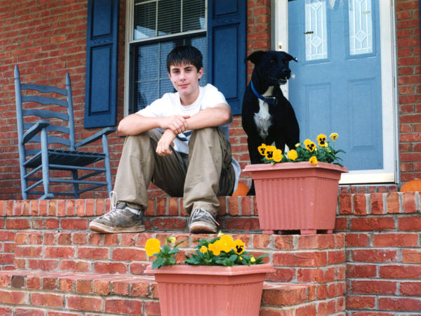 Stephen Wright, on his front porch in fall 2000.