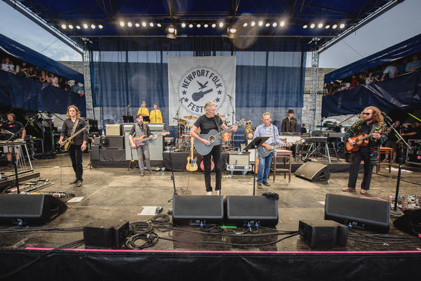 Roger Waters surprised the Newport Folk Festival by bringing out My Morning Jacket as his band for the evening. Lucius and Amy Helm (not pictured) also made guest appearances during the set.