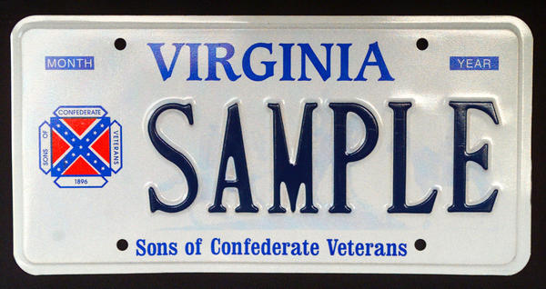 A sample Confederate battle flag license plate in Virginia.