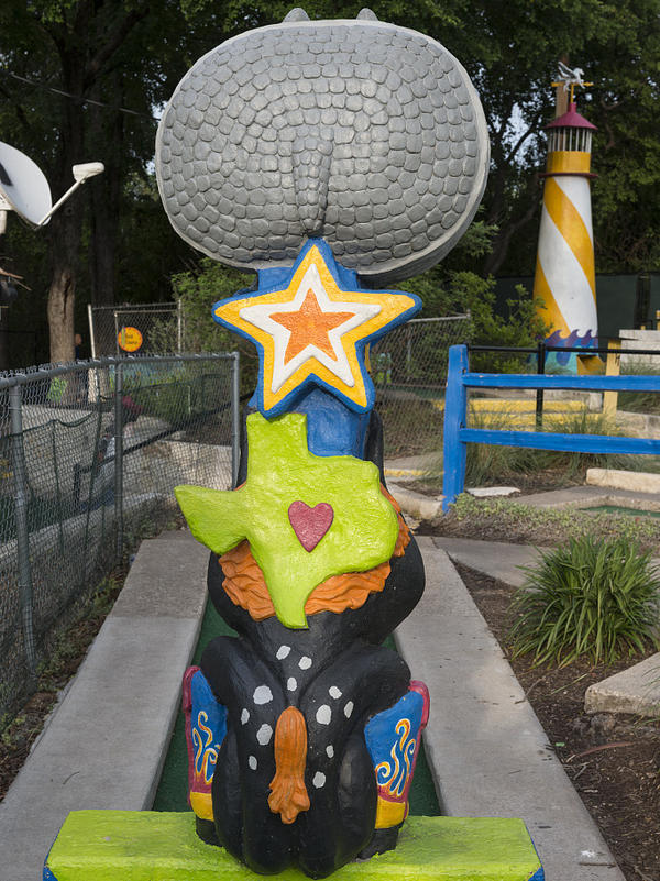 A Texas-size obstacle at the Peter Pan minigolf course in Austin, Texas — created in 1948.