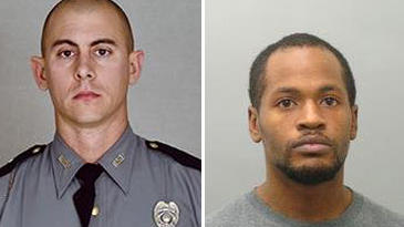 Images released by the Kentucky State Police show Trooper Cameron Ponder (left) and the man suspected of killing him, Joseph Thomas Johnson-Shanks.