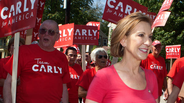 Republican presidential candidate Carly Fiorina marches in the Labor Day parade in Milford, N.H.
