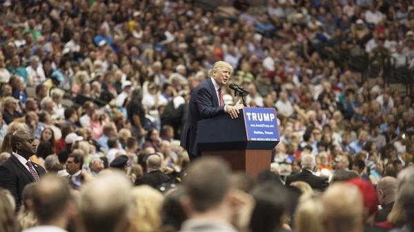 U.S. Republican presidential candidate Donald Trump speaks during a campaign rally at the American Airlines Center in Dallas Monday.