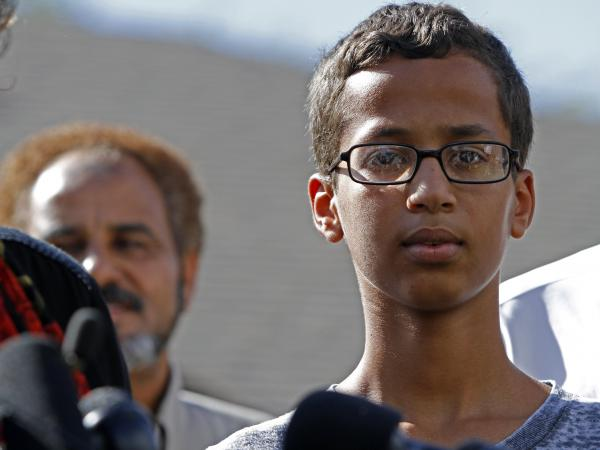 Ahmed Mohamed speaks during a news conference on Wednedsay in Irving, Texas. After being detained for building what a teacher thought was a bomb; it was an alarm clock.