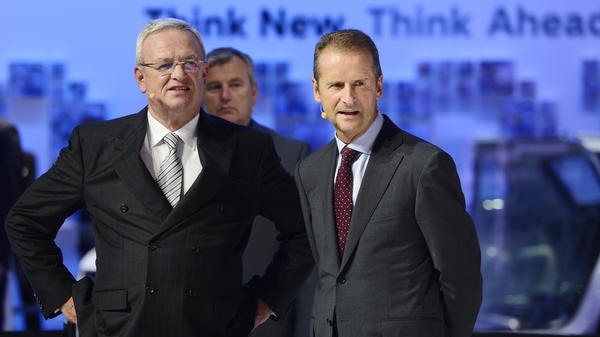 "Volkswagen CEO Martin Winterkorn (left) apologized for his company's actions, saying, ""We do not and will not tolerate violations of any kind of our internal rules or of the law."" He's seen here on the first day of the Frankfurt Auto Show last Thursday, one day before the EPA said VW had cheated on emissions tests."