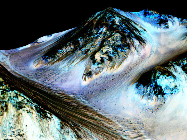 Dark, narrow streaks on Martian slopes such as these at Hale Crater are inferred to be formed by seasonal flow of water on contemporary Mars.